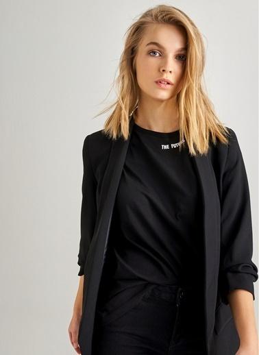 Monamoda Kol Büzgülü Boyfriend Ceket Siyah